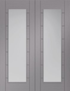XL Joinery Internal Palermo Light Grey with Clear Glass Rebated Door Pairs French Doors, Grey Doors, Light Grey, Panel Design, Contemporary House, Door Displays, Clear Glass, Safety Glass, Doors