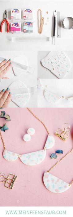 DIY terrazzo necklace made of polymer clay - Fimo DIY - Schmuck Diy Jewelry Rings, Diy Jewelry Unique, Diy Jewelry To Sell, Diy Jewelry Tutorials, Diy Jewelry Making, Jewelry Crafts, Clay Tutorials, Wire Jewelry, Body Jewelry