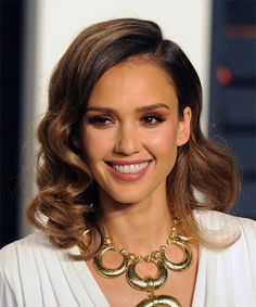 Jessica Alba Evening Wavy Hairstyle from the Vanity Fair Oscar Party 2016. Try on this hairstyle and view styling steps! http://www.thehairstyler.com/hairstyles/formal/medium/wavy/jessica-alba-vanity-fair-oscar-party-2016