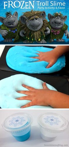 Disney Frozen Troll Slime - homemade GAK for a Frozen Birthday Party. Easy to make and great for a party activity or as party favors for the kids. We have step by step directions on how to make it. Follow us for more fun Frozen Party Ideas.