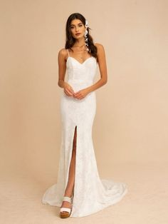 SULTANA Beaded Slip wedding dress by TARA LAUREN Softly fitted beaded ivory slip with a center front slit. The Sultana beaded slip can be ordered without the slit. Pair it with the Easton skirt and sleeves for a romantic ceremony look. Slip Wedding Dress, V Neck Wedding Dress, Sexy Wedding Dresses, Bridal Dresses, Wedding Gowns, Wedding Wishes, Wedding Pics, Wedding Crafts, Wedding Blog