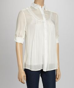 Look at this #zulilyfind! White Pleated Button-Up #zulilyfinds