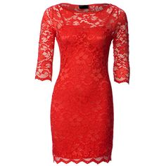 Red Lace Dress with Sheer 3/4 Length Sleeves ($64) ❤ liked on Polyvore