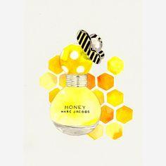 Marc Jacobs Honey Fragrance  Watercolor Perfume bottle by MilkFoam, $35.00