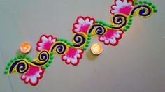 Beautiful flower type rangoli border design
