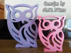 Dupla corujas vazadas G-P (lilás e rosa) 2