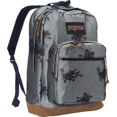 JanSport Right Pack Laptop Backpack- Discontinued Colors - Silver Rose... ($42) ❤ liked on Polyvore featuring bags, backpacks, metalic, rucksack bags, rose bag, laptop pocket backpack, day pack backpack and handle bag