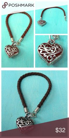 "🎉HP 9/18!🎉Love BRIGHTON? Try this❣ ❣Love BRIGHTON? Try this beautiful bracelet! Approx. 7"" long vegan leather braided cord holds a silver plate heart charm, reminiscent of Brighton jewelry. Charm is approx. 1"". Lobster clasp. Design on both sides of heart; NWOT- Price is firm unless bundled. (For: @shoppingkismet). ❣️Host Pick ""Wardrobe Goals 9/18/16 by @melaniekaren ~ shop her beautiful closet!❣️ TonisTwinkles Jewelry Bracelets"