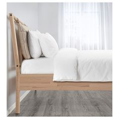 IKEA BJÖRKSNÄS bed frame Made of solid wood, which is a hardwearing and warm natural material. Lit Double Ikea, Cama Ikea, Ikea Bed, Ikea Wooden Bed, Camas King, Ikea Family, Head Boards, Bed Slats, Bed Base