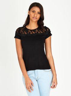 Lace Inset T-shirt Black