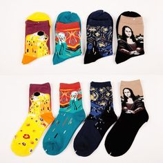 Fashion Painting Art Men Women Socks Funny Novelty Starry Night Vintage Retro  EUR 1.14  Meer informatie  #aliexpress