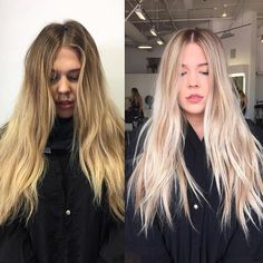 Bye yellow hair Gorgeous transformation by @colorwithgrace with #Olaplex…