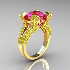 French Vintage 14K Yellow Gold 3.0 CT Pink and Yellow Sapphire Pisces Wedding Ring Engagement Ring Y228-14KYGYSPS - Perspective