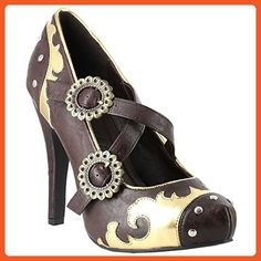 4 Inch Brown Steampunk High Heel Shoes Mary Jane Straps With Gears Size: 9 - Pumps for women (*Amazon Partner-Link)