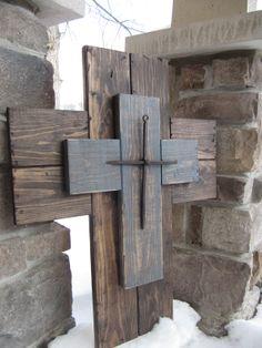 Repurposed wood cross rustic wood cross by BlessHerHeartDesigns, $45.00