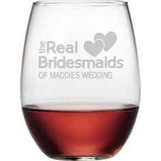 Send your wedding party home with something special with this personalized stemless wine glass, featuring a sand-etched text design.