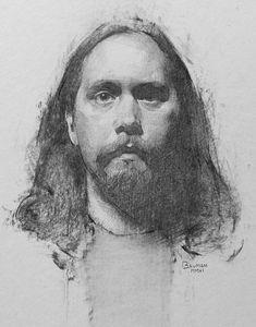 """Portrait of Joakim"" - Stephen Bauman (b. 1980), charcoal and pencil on paper {contemporary figurative art male head bearded man face cropped drawing #loveart} stephenbaumanart.com"