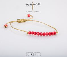 Χειροποίητο βραχιόλι με κρύσταλλο και χρυσό κορδόνι. #handmade #jewelry #fashion