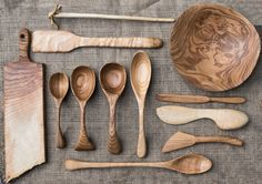 Hand carved utensils and serving pieces.