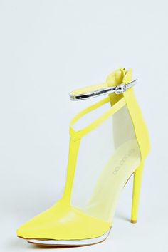 Simone Metallic Trim T-Bar Heels