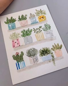 Doodle drawing for your bullet journal, succulent cactus step by step . Watercolor Cards, Watercolour Painting, Watercolor Flowers, Painting & Drawing, Watercolors, Cacti And Succulents, Potted Plants, Hanging Succulents, Painting Inspiration