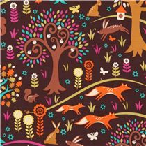 Tela marrón bosque animales zorro Michael Miller Foxtrot - Telas con animales - Textiles