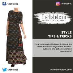 Look #Elegant Wearing this Ikat-Printed Dress!  Dresses with traditional prints is a top choice of modern women. Don this stunning ikat-printed outfit and style this with oxidised jhumkas, a bucket bag and high heels to set new #Trends!  #StyleTips #TheHLabel Modern Women, Looking Stunning, Ikat, Bucket Bag, Cool Designs, High Heels, Short Sleeve Dresses, Traditional, Trends