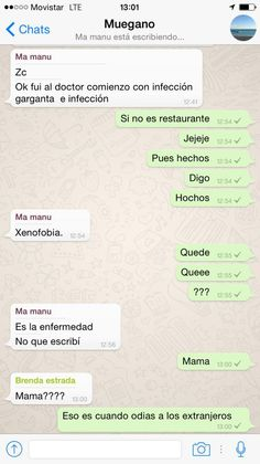 A mi #Mamá le diagnosticaron #xenofobia. #WhatsApp #Texting #Funny #Lol