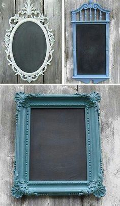 Framed Chalkboard-LOve especially when you make your own chalkboard paint to go with it? how about colorful frame and a muted chalkboard paint Home Crafts, Fun Crafts, Decor Crafts, Home Craft Ideas, Do It Yourself Inspiration, Do It Yourself Furniture, Framed Chalkboard, Chalkboard Ideas, Chalkboard Paint Crafts