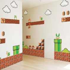 Super Mario Wall Stickers - Now you can decorate your room with one of the most recognizable games ever with the Super Mario Wall Stickers. Included in this Super Mario Wall Sticker package are three large and restickable vinyl decals, with dozens of smaller individual decals in each package.