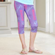 Girls Dark Lavender NAME Arden Capri Leggings