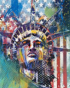 Artist ~ Steve Penley Lady Liberty draped in color Graffiti, Steve Penley, Street Art, Wow Art, Pinstriping, Painting Patterns, Our Lady, Collage Art, Art Lessons