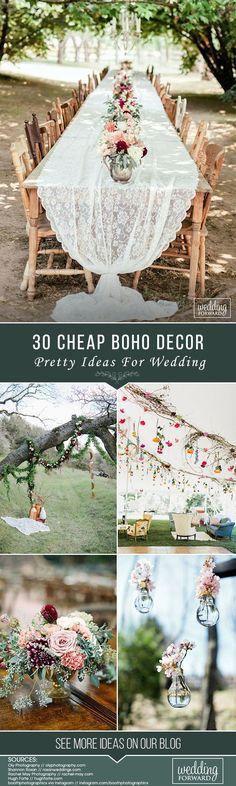 30 Pretty And Cheap Boho Decor For Wedding Elope Wedding, Boho Wedding Dress, Budget Wedding, Plan Your Wedding, Floral Wedding, Wedding Planning, Dream Wedding, Wedding Day, Wedding Vows