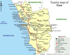 Goa map, India. Goa is a state in India that was a Portuguese colony. The Portuguese influence in Goa is still prevalent in the names of cities, surnames, and religion. Goa mainly thrives on tourism which only runs from Oct/Nov to Jan. The rest of the year many places are closed or covered up with plastic to protect from the monsoon rains.