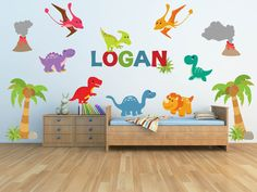 Dinosaur Wall Decal for Kids Bedroom Personalized Name by YendoPrint on Etsy https://www.etsy.com/listing/199611167/dinosaur-wall-decal-for-kids-bedroom