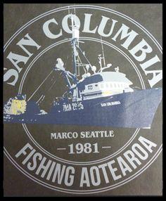 San columbia fishing aoteroa t shirt design printed at WWW.ColourWorksnz.Com