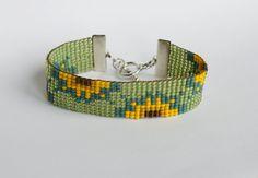 Sunflower Fields Bead Loomed Bracelet by LoomersLab on Etsy