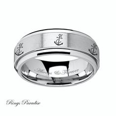 Tungsten Wedding Band Tungsten Ring Anchor by RingsParadise
