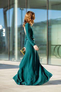 vestido largo verde