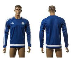 Chelsea Blank Blue Long Sleeves Training Soccer Club Jersey