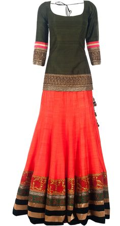 Coral raw silk embroidered lehenga set by MANISH MALHOTRA. Shop at www.perniaspopups...