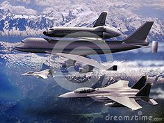 747 Boeing with space shuttle on its back, escorted by several fighters F15 over mountains.