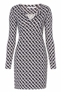 Reina Long Sleeve Silk Jersey Dress in Chain Link Medium Iconic Dresses, Ladies Dress Design, Diane Von Furstenberg, Designer Dresses, Fashion Dresses, Chiffon, Silk, Blouse, Closets