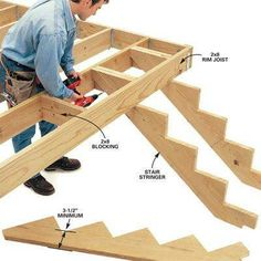 DIY Tip of the Day: Stronger Stair Stringers. This simple method will give you stronger stairs. Cut 2x12 stringers long and secure them to blocking or to the joists if they run parallel to the stringers. Cut extra off the top riser to allow for the rim joist. Set your stair rise to 7-1/4 in. and tread to 11 in. Leave a minimum of 3-1/2 in. of wood perpendicular to the back of the stringer and the deepest cutout.
