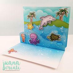 Pics of the inside....Critters in the Sea pop up card. Lawn Fawnatics Challenge #14 - Happy Little Critters. Juana Create.