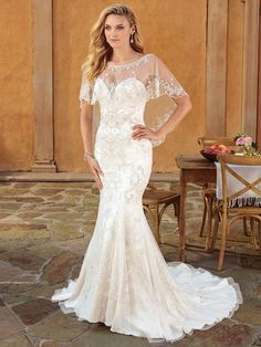 Casablanca Bridal Style 2323 Haven - Beaded Fit and Flare Wedding Dress with Cape