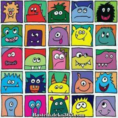 Monster im Quadrat – bunt - Art ideas Art Projects For Adults, Toddler Art Projects, Monster Art, Arte Elemental, Sous Bock, Kindergarten Art Projects, Art Classroom, Classroom Pictures, Halloween Art