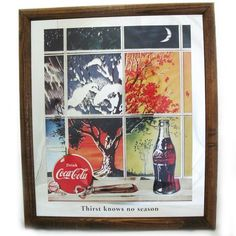 VINTAGE 1991 Old COCA COLA COKE Soda MIRROR Glass ADVERTISING SIGN Framed 15x13 $225 .. we sell more OLD and VINTAGE HOME DECORATIONS at http://www.TropicalFeel.com
