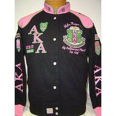 Alpha Kappa Alpha Sorority, Inc. Racing Style Snap up jacket!