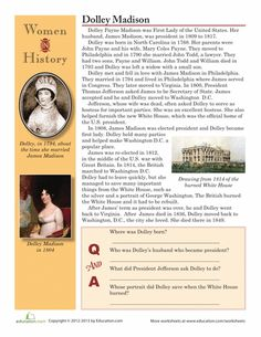 Worksheets: Women in History: Dolley Madison